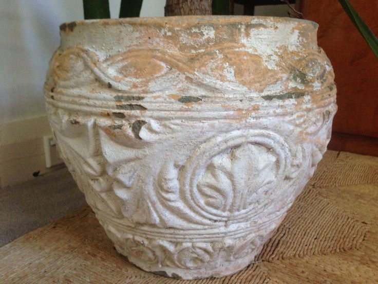 Rustic Pot - I purchased it on Ebay, not sure of era...but I love the detailing & wear on the paint!!