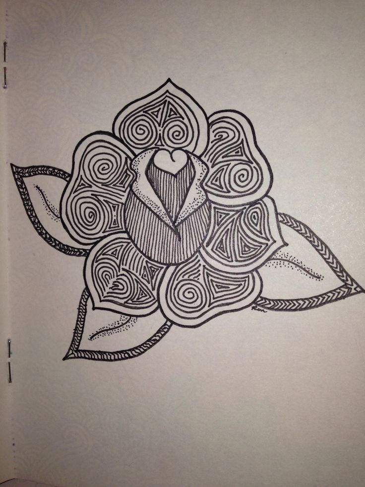 Rose Doodle Ren X Zentangle Flowers Pinterest Roses