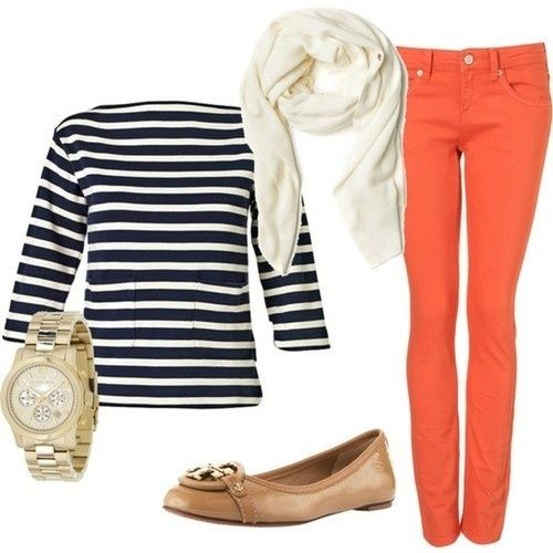 bright skinnies, striped boat neck top, neutral accents: cute outfit for spring or fall...