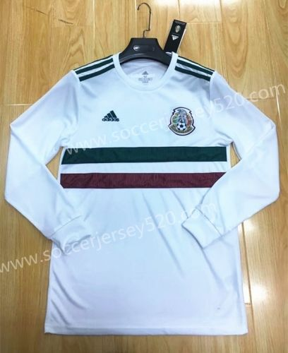 d819ad5cf6f 2018 World Cup Mexico Away White Thailand LS Soccer Jersey AAA ...