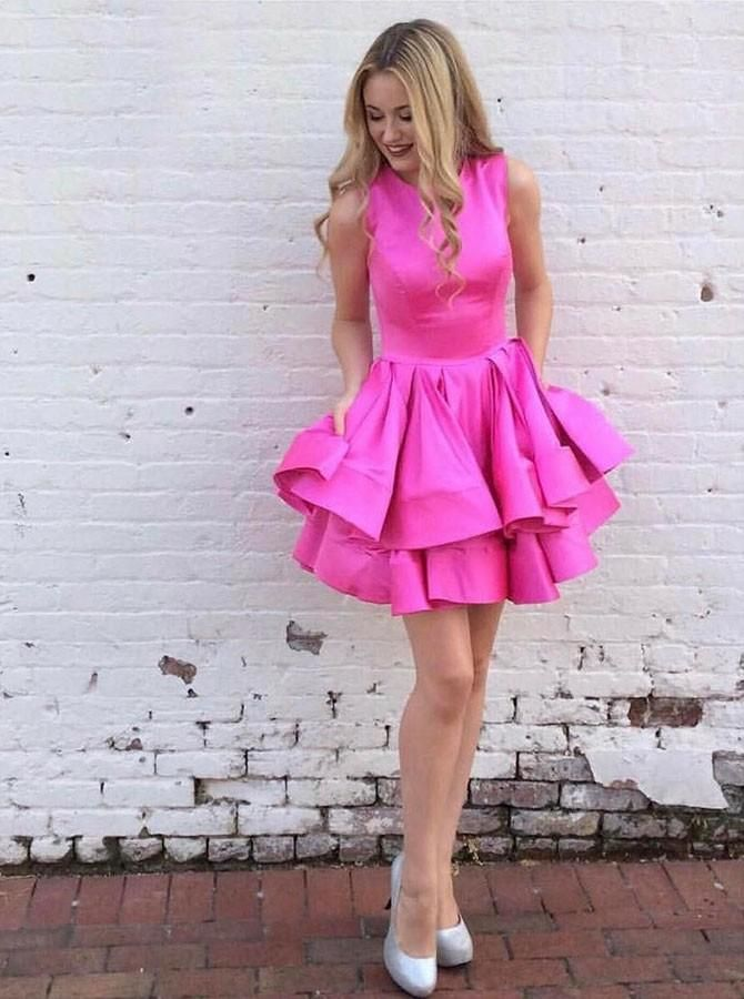 Elegant Prom Dress, A-Line Round Neck Tiered Short Fuchsia Homecoming Party Dress in 2020 | Mini prom dresses, Homecoming dresses, Short dresses