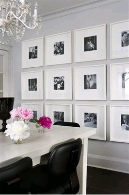 For the home. Perhaps in the dinning room, but only 3 identical picture frames with all black and white photos.