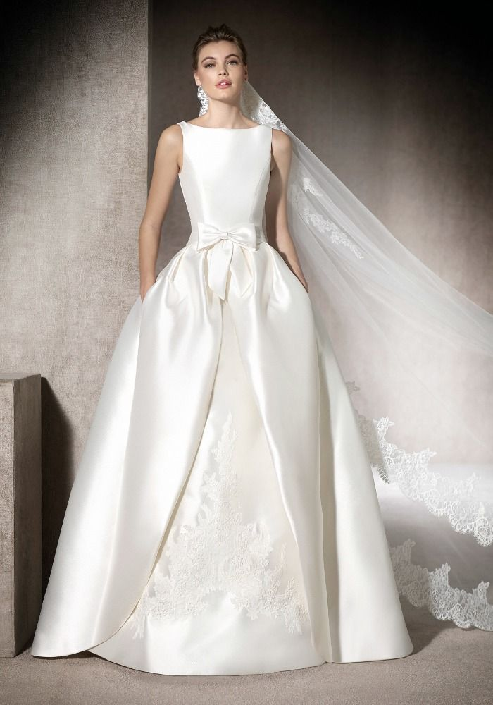 St. Patrick | Boat neck neckline princess ball gown in mikado with floral…