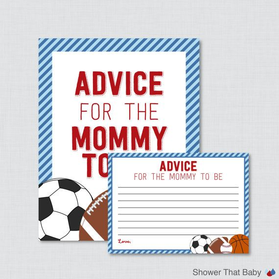 Sports Themed Advice for Mommy to Be Cards and Sign Baby Shower Printable - Sports Advice for Mom, Advice for New Parents - 0015-B