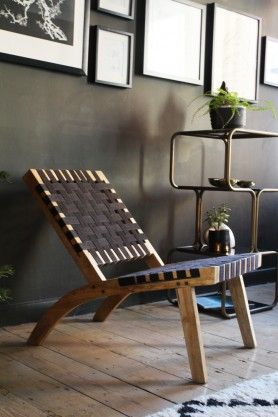 Natural Woven Chair- Black
