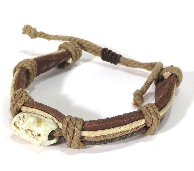 Bracelets – LEATHER AND CORD - men's bracelet – a unique product by betulek on DaWanda