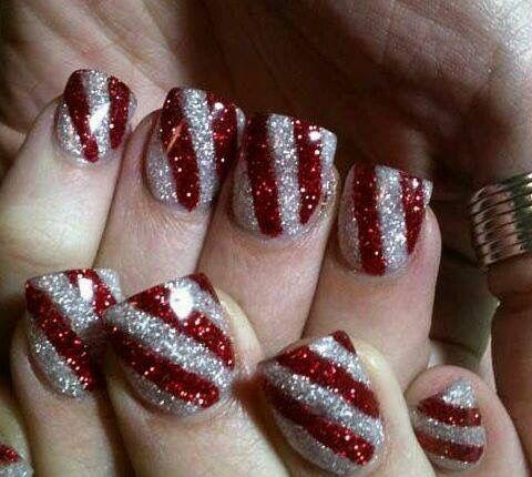 Candy Kane/glitter/nails