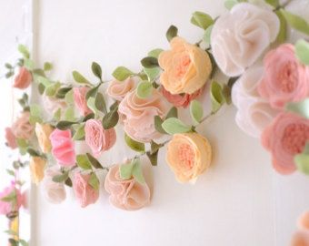 ROSE GARLAND // Felt Flower Garland // Floral by HoneyCrown
