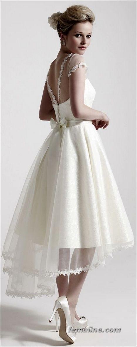 111 Elegant Tea Length Wedding Dresses Vintage – #…