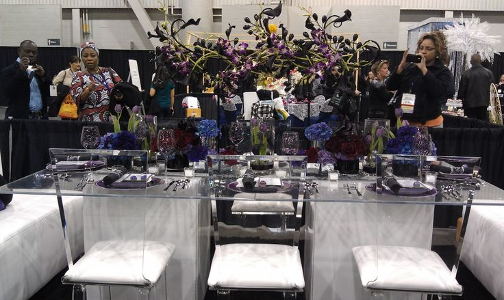 clear ghost chairs purple and blue color scheme