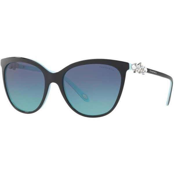 Tiffany & Co. Tf4131hb Black Butterfly Sunglasses (575 CAD) ❤ liked on Polyvore featuring accessories, eyewear, sunglasses, butterfly sunglasses, butterfly glasses, tiffany co sunglasses and tiffany co glasses