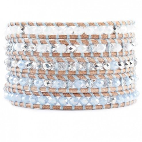 Chan Luu Periwinkle Mix on Beige Leather Wrap Bracelet