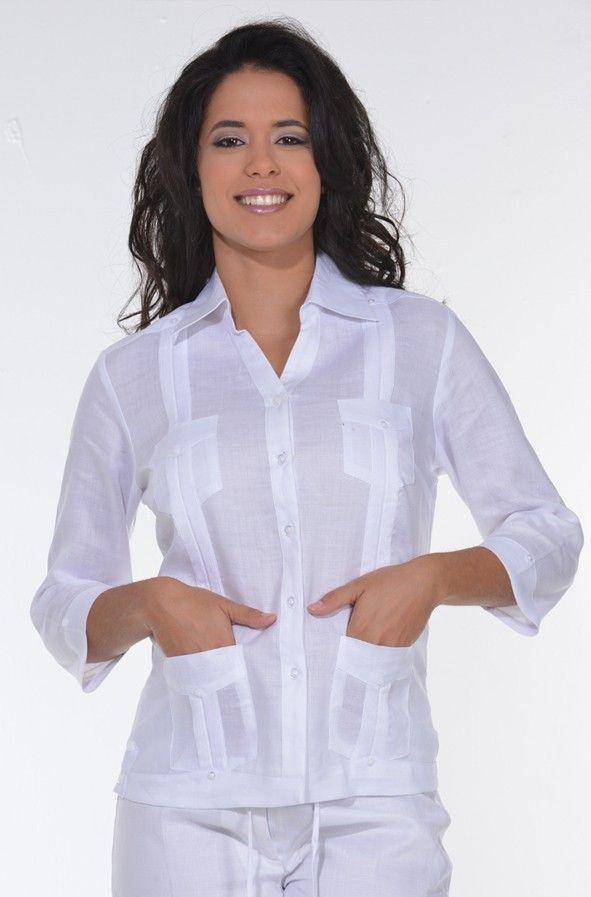Guayabera Blouse 3 4 Sleeve For Ladies Guayabera Blouse