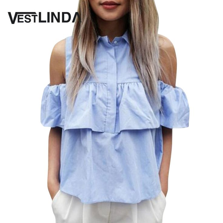 VESTLINDA Summer Women Blouse Casual Blue Tops Off the Shoulder Butterfly Sleeve Blouse Lady Sexy Turn Down Collar Office Blusas