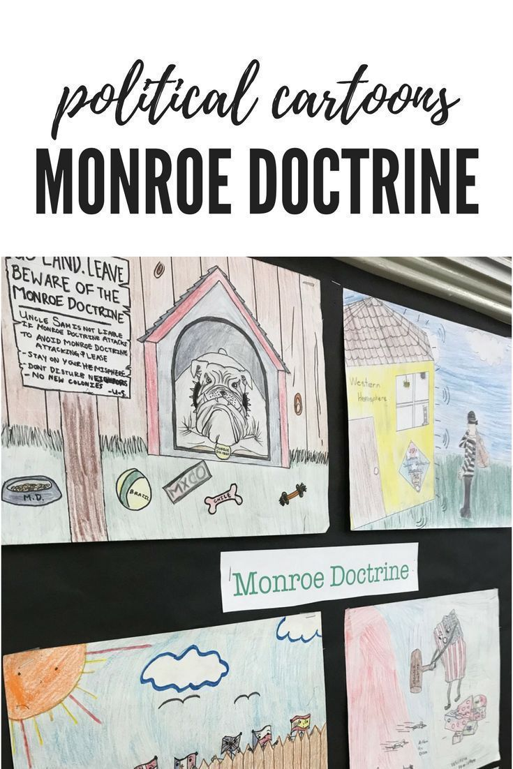 Students create their own cartoon after analyzing political cartoons about the Monroe Doctrine.