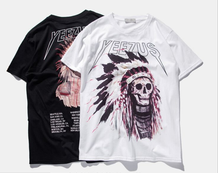 Best Version 2016 Yeezus Tour Kanye West yeezy Merch Indian Headdress Skull red letter short sleeve t shirt tee HBA pyrex vision