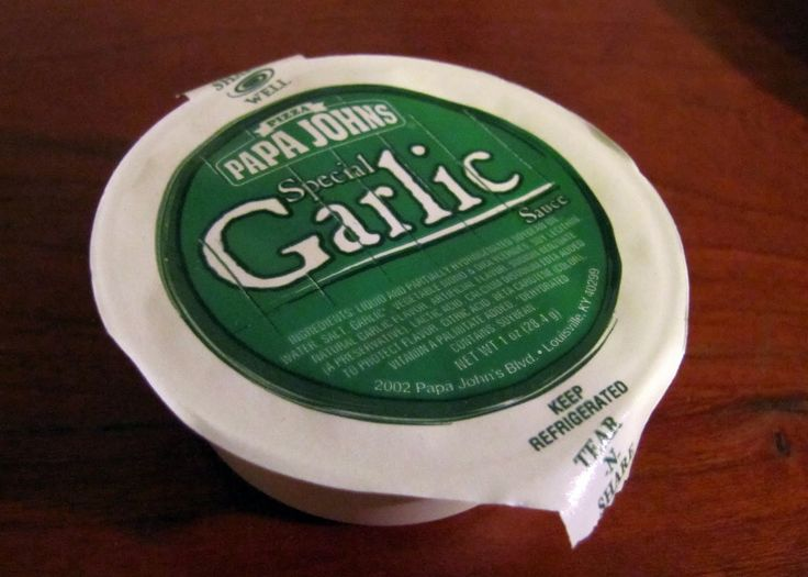 Papa John's Special Garlic Sauce:   Ingredients:   1/2 stick of butter  1/2 Tablespoon Garlic powder  1/4 teaspoon salt      Procedure:  Melt butter in the microwave (about 30 secs)  Put in salt and garlic powder (to taste)  Microwave for 5 seconds longer