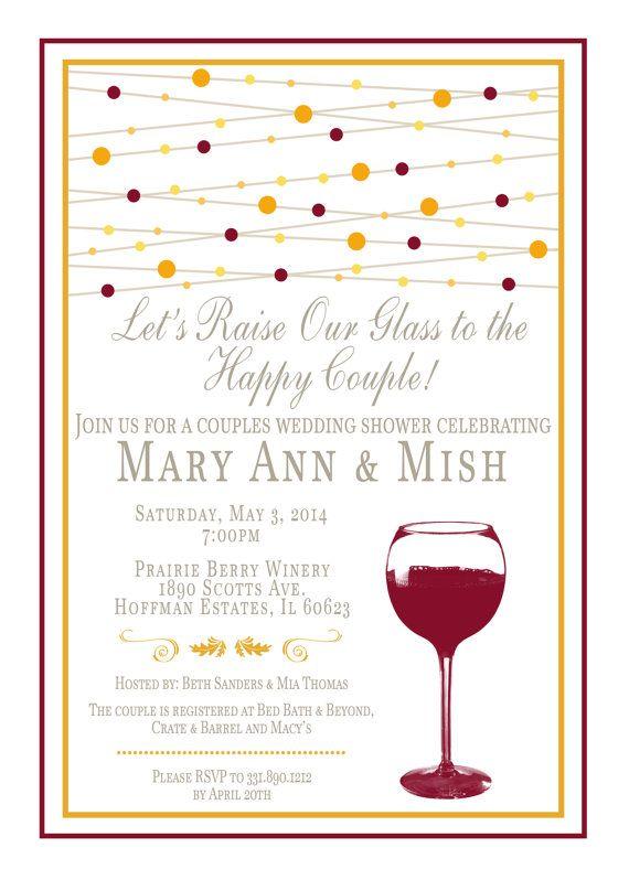 wine themed bridal shower invitation