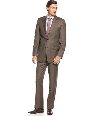 Michael Michael Kors Suit, Light Brown Sharkskin Big and Tall - Suits & Suit Separates - Men - Macy's
