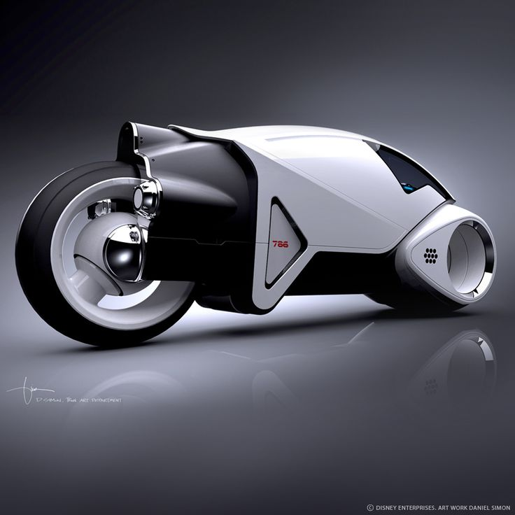Vintage Light Cycle design illustration by Daniel Simon for Tron Legacy / Disney Studios. 3D model Daniel Simon.  © DISNEY