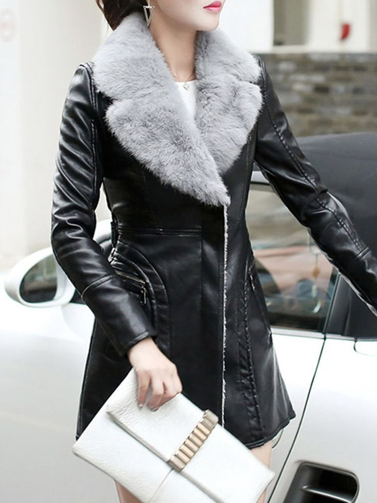 Shop Artificial Leather and Shearling Coats - Black Angora-blend Long Sleeve Artificial Leather And Shearling Coat online. Discover unique designers fashion at StyleWe.com.