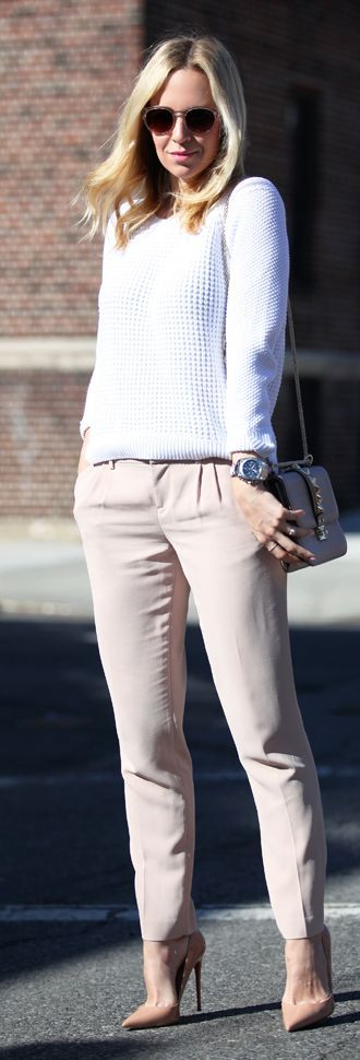 Fall / Winter - street chic style - business casual - work outfit - office wear - black sunglasses + pale pink pleated pants + pale pink or nude stilettos + white sweater + grey messenger bag