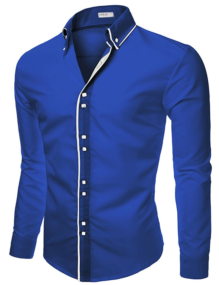 Mens Casual Slim Fit Shirts With Square Button #doublju