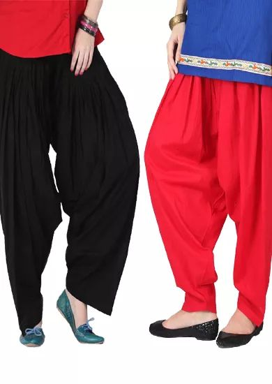 Black And Red Full Cotton Patiala Salwar Bottoms
