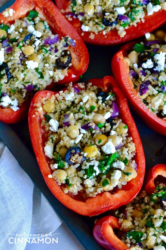 Greek Style Quinoa Stuffed Bell Peppers - Not Enough Cinnamon
