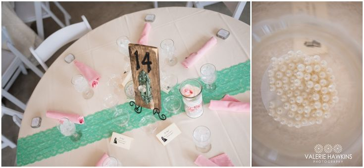 Mint Green, Pink, Gray, Lace & Pearls wedding decor.................Valerie Hawkins Photography: Magnolia Estate Wedding   Nate & Tiffany