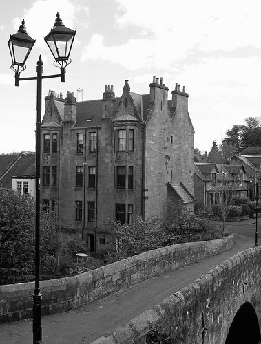 """Tenement housing on the banks of the River Cart ....... near Cathcart, Glasgow Southside . Mary Queen of Scots watched the Battle of Cathcart near here. """"Oh my aiken head"""" she declared, Aikinhead Road,Cathcart was established that day."""