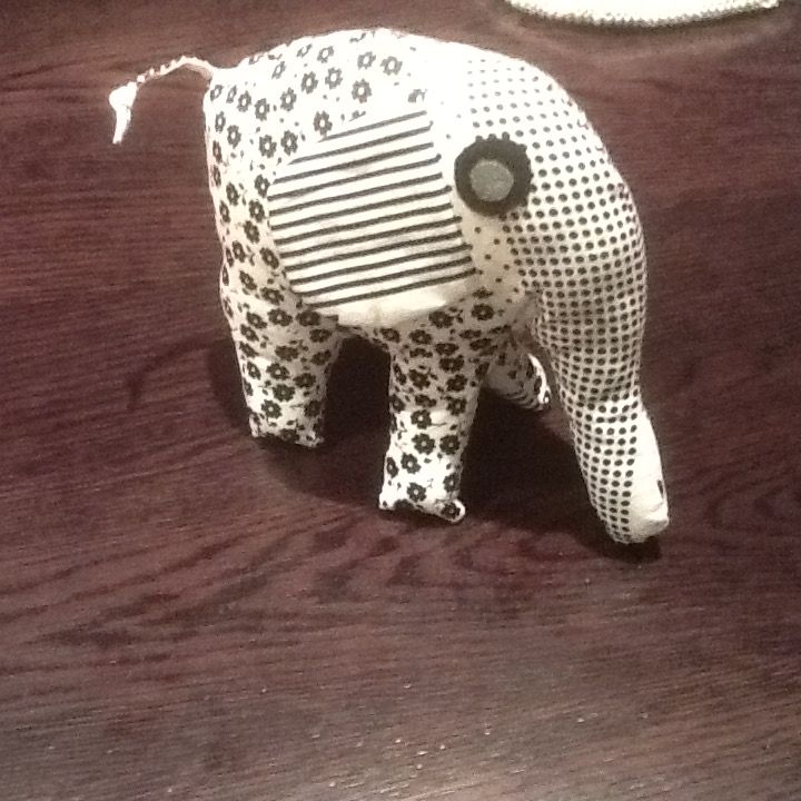 Baby elephant made from scraps of material
