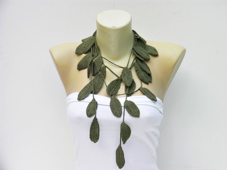 CROCHET NECKLACE | Crochet leaf jewelry /crochet pendant / crochet necklace