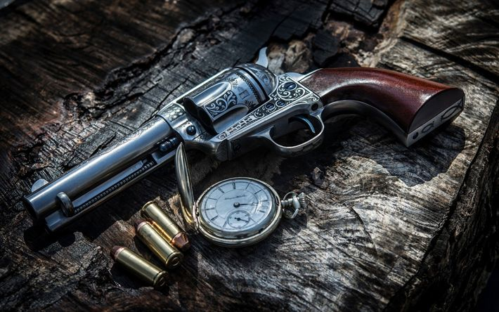 Download wallpapers Colt 45, revolver, old clock, bullets, cartridges, Colt