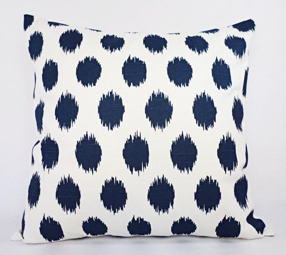Navy Blue Throw Pillow Covers - Set of Two Navy Ikat Pillow Covers - 18 x 18 Inch Polka Dot Pillow Navy Accent Pillows Decorative Pillow