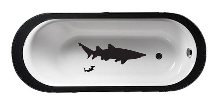 Bathtub Sharks- Bathroom Décor Tub Decal – Shower Wet Mirror art Tub lather soak unwind relax kids bathroom Ocean scene aquatic shark by JobstCo on Etsy https://www.etsy.com/listing/204825848/bathtub-sharks-bathroom-decor-tub-decal