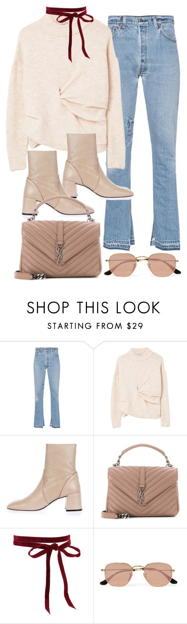 Untitled #11259 by minimalmanhattan on Polyvore featuring RE/DONE, MANGO, Topshop, Yves Saint Laurent and Ray-Ban