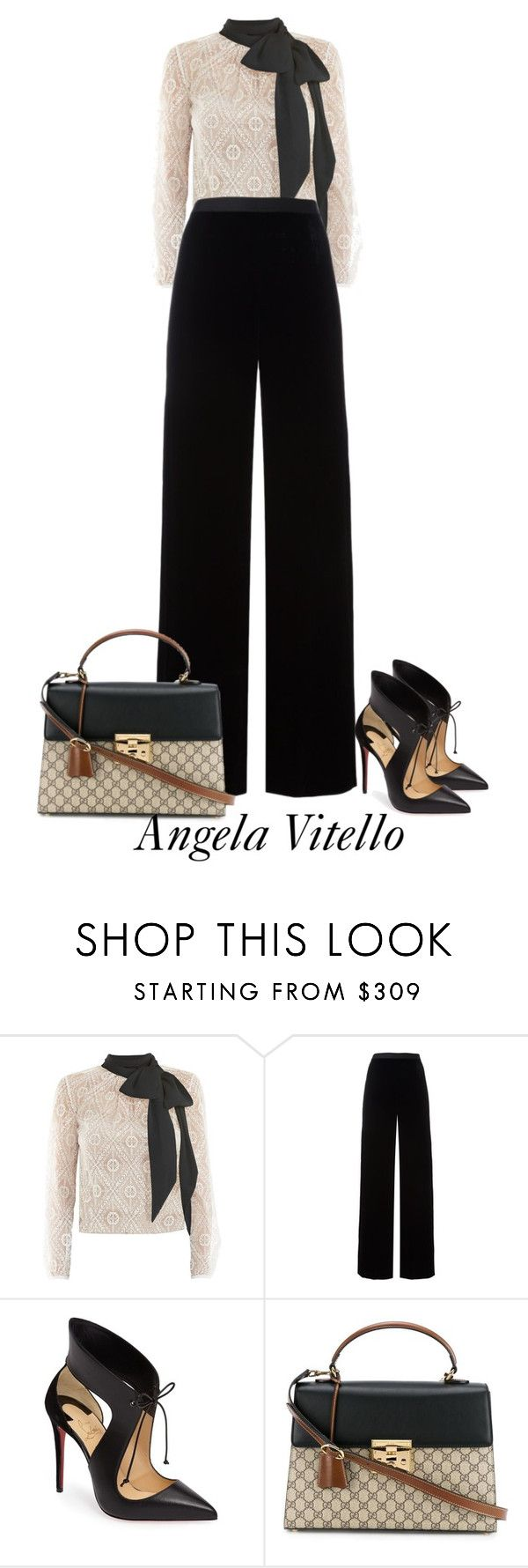"""Untitled #877"" by angela-vitello on Polyvore featuring Victor Xenia, T By Alexander Wang, Christian Louboutin and Gucci"
