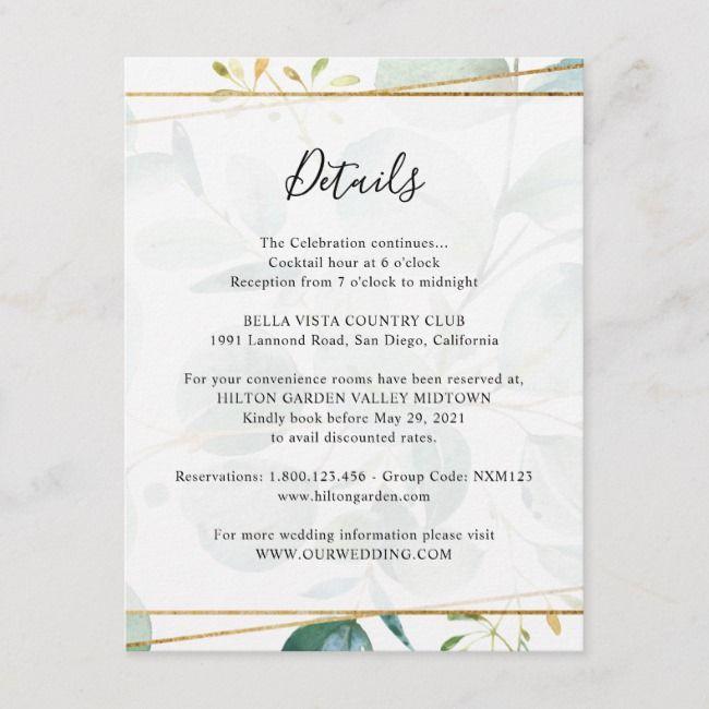 Greenery Eucalyptus Guest Information Details Enclosure Card Zazzle Com Enclosure Cards Wedding Invitation Inserts Garden Theme Wedding
