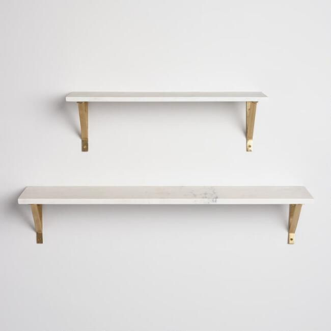 White Marble Mix & Match Wall Shelves 2'   – Design