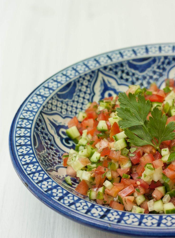 Simple Arabic Salad    http://arabiczeal.com/simple-arabic-salad/ also add feta and black olives