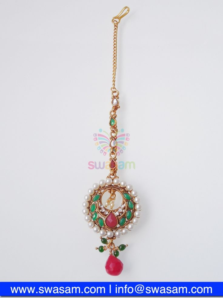 Indian Jewelry Store | Swasam.com: Tikka with Perls and White Stones - Tikka - Jewelry Shop to Buy The Best Indian Jewelry  http://www.swasam.com/jewelry/tikka/tikka-with-perls-and-white-stones-1347.html?___SID=U  #indianjewelry #indian #jewelry #tikka