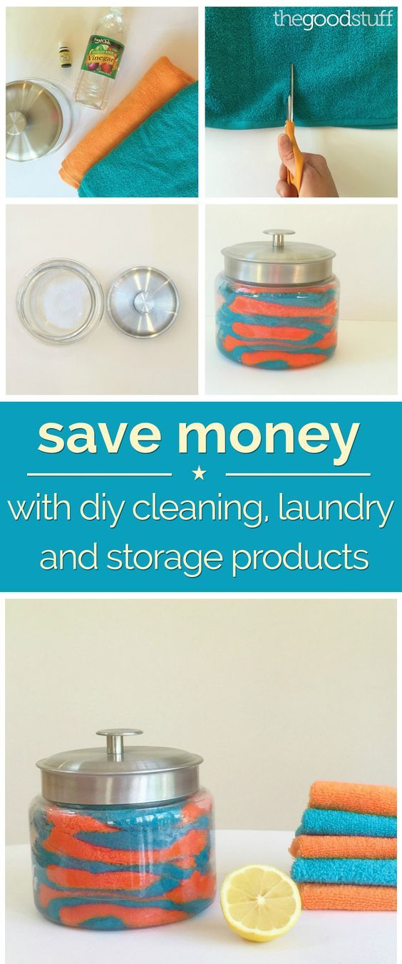 Save Money With DIY Cleaning, Laundry and Storage Products - including wood conditioning cloths and reusable Swiffer pads!