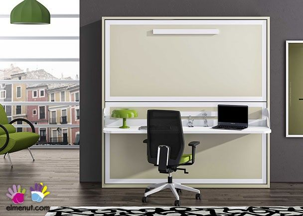 -Litera abatible horizontal con escritorio para colchones de 90 x 190.