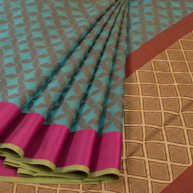 Buy online Banarasi Blue Cotton Saree with Stripes 10014365
