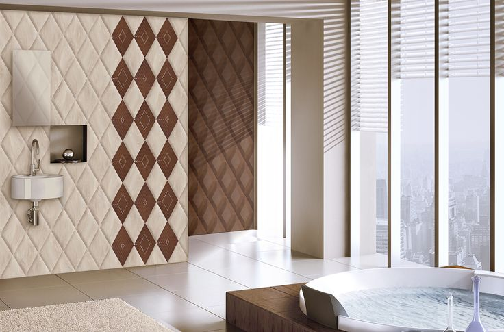 Ambient with Ceramic reliefs inspired by the woods of northern countries. Ambiente con Relieves ceramicos inspirados en maderas propias de paises frios.
