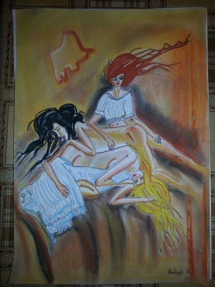 Barátnők. Pasztell 30x45 Papír. Artist: Balogh Krisztina