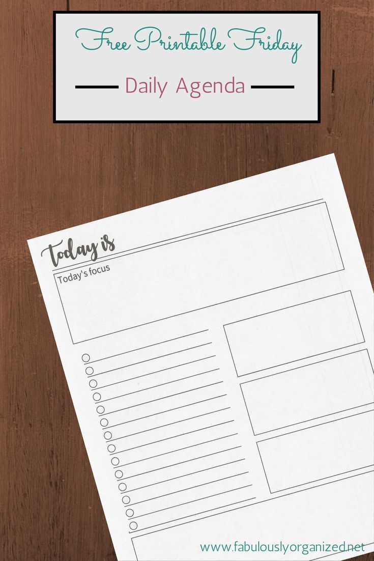 Free Printable Friday Daily Agenda. For those days when there just isn't enough room in a planner for the day's activities.