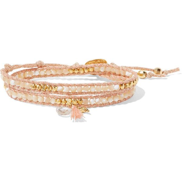 Chan Luu Gold-plated, mother-of-pearl and crystal wrap bracelet (455 BRL) ❤ liked on Polyvore featuring jewelry, bracelets, mother of pearl jewelry, chan luu, crystal stone jewelry, gold plated jewellery and gold plated bangles