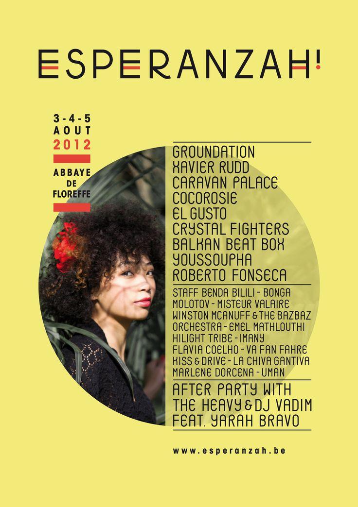 Affiche du festival belge se déroulant à l'abbaye de Floreffe, Esperanzah. J'ignore le nom de l'auteur.